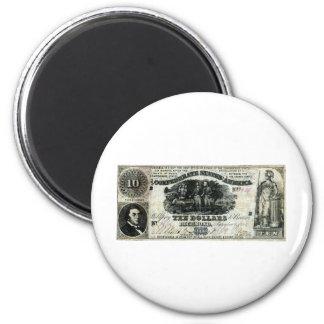 1861 Confederate Ten Dollar Note Fridge Magnets