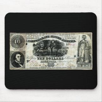 1861 Confederate Ten Dollar Note Mousepads