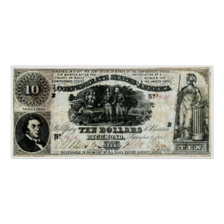 1861 Confederate Ten Dollar Note Posters