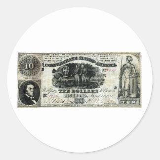 1861 Confederate Ten Dollar Note Round Sticker