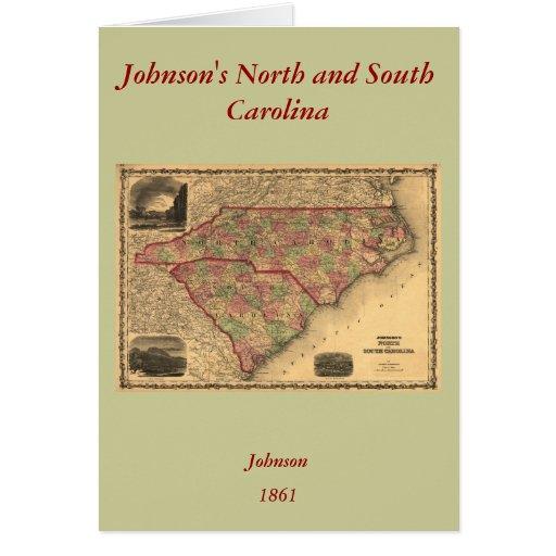 1861 North Carolina and South Carolina Map Card