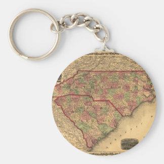 1861 North Carolina and South Carolina Map Keychain