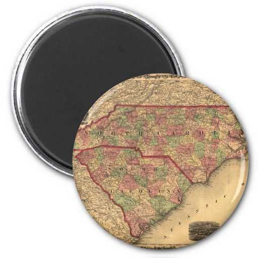 1861 North Carolina and South Carolina Map Fridge Magnets
