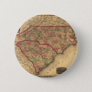 1861 North Carolina and South Carolina Map Pinback Button