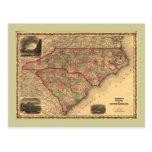 1861 North Carolina and South Carolina Map Postcard