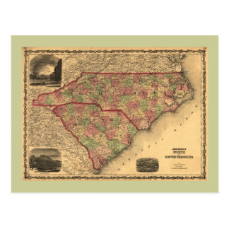1861 North Carolina and South Carolina Map Postcard