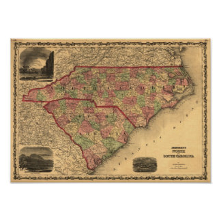 1861 North Carolina and South Carolina Map Poster