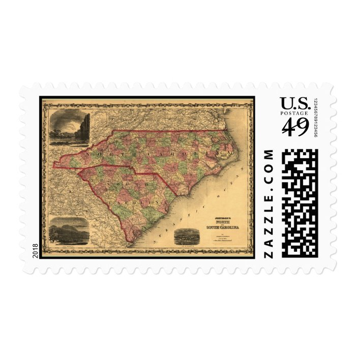 1861 North Carolina and South Carolina Map Stamp