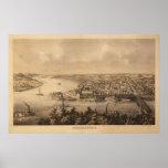 1861 Parkersburg, mapa panorámico de la opinión de Impresiones
