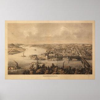 1861 Parkersburg, mapa panorámico de la opinión de Póster