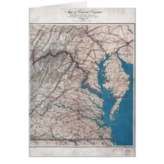 1862 Civil War Era Map of Eastern Virgina Card
