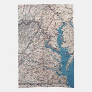 1862 Civil War Era Map of Eastern Virgina Towels