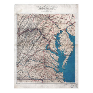 1862 Civil War Era Map of Eastern Virgina Postcard
