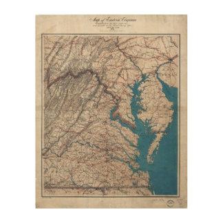 1862 Civil War Era Map of Eastern Virgina Wood Print