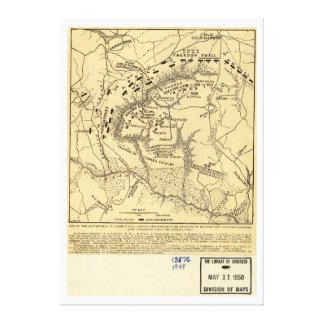 1862 Civil War Map Battlefield of Gaines's Mill Canvas Print