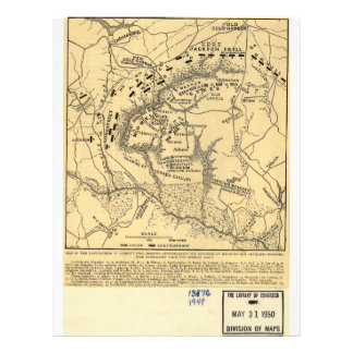 1862 Civil War Map Battlefield of Gaines's Mill Customized Letterhead