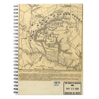 1862 Civil War Map Battlefield of Gaines's Mill Notebook