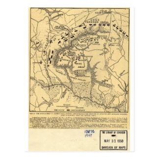 1862 Civil War Map Battlefield of Gaines's Mill Postcard