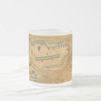1862 Civil War Map Fort Lyon Alexandria Virginia Frosted Glass Coffee Mug