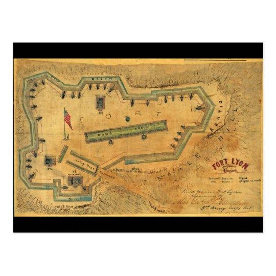 1862 Civil War Map Fort Lyon Alexandria Virginia Postcard