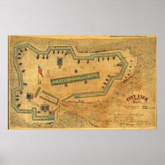 1862 Civil War Map Fort Lyon Alexandria Virginia Print
