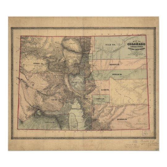 1862 Map of Colorado Territory Poster