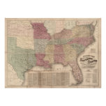 1862 Map of Southern States of America Posters