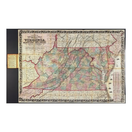 1862 Map Virginia, Maryland, & Delaware Poster