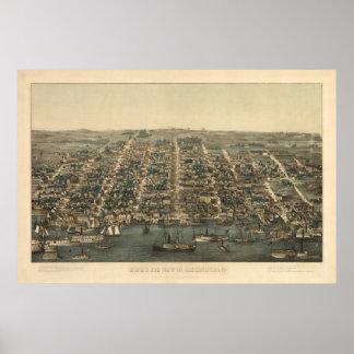 1863 Alexandria, VA Bird's Eye View Panoramic Map Print