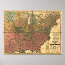 1863 Rail & Civil War Map of U.S. and Canada Poster