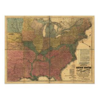 1863 Rail & Civil War Map of U.S. and Canada Poster