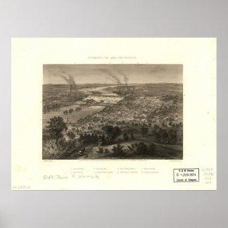 1863 Richmond, VA Bird's Eye View Panoramic Map Poster
