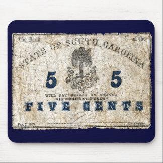 1863 South Carolina 5 Cent Note Mouse Pad