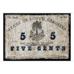 1863 South Carolina 5 Cent Note Print