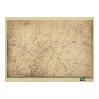 1864 Civil War Map Troop Movements Chattanooga, TN Posters
