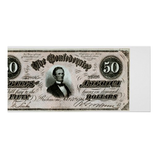 1864 Confederate Fifty Dollar Note Poster