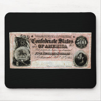 1864 Confederate Five Hundred Dollar Note Mouse Pad