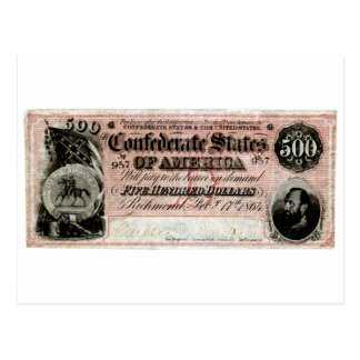 1864 Confederate Five Hundred Dollar Note Postcard