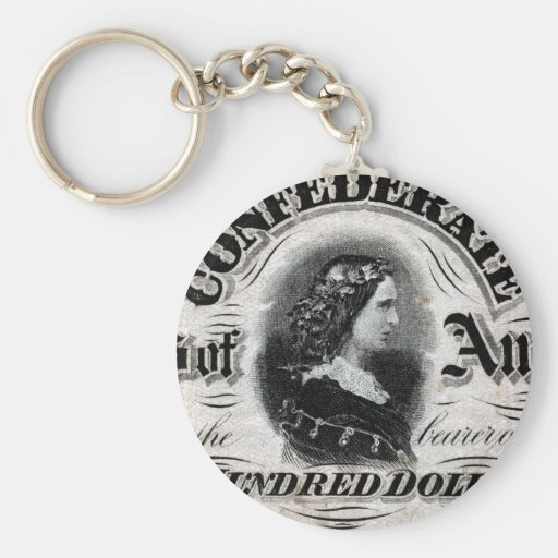 1864 Confederate One Hundred Dollar Note Basic Round Button Keychain
