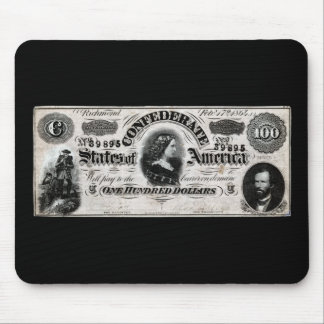 1864 Confederate One Hundred Dollar Note Mouse Pad