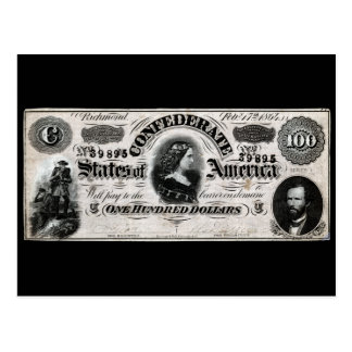 1864 Confederate One Hundred Dollar Note Postcard
