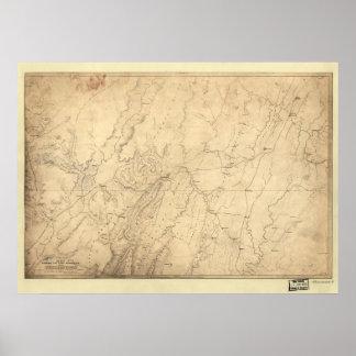 1864 movimientos de tropa del mapa de la guerra ci póster