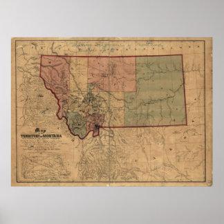 1865 Map of Montana Print