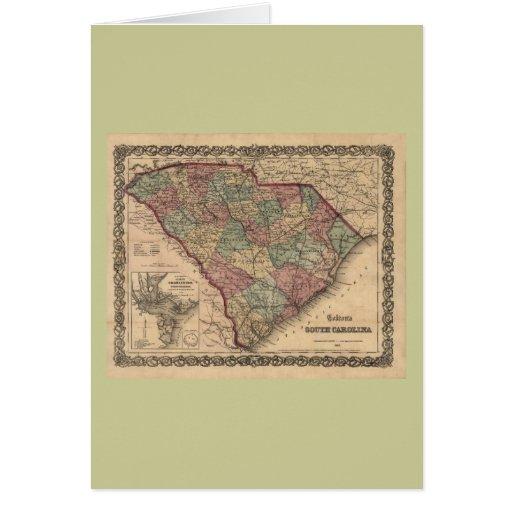 1865 South Carolina Map Greeting Card