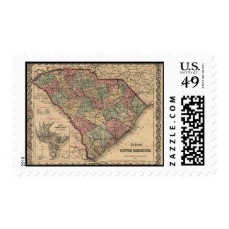 1865 South Carolina Map Postage
