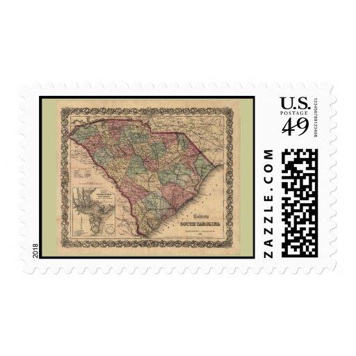 1865 South Carolina Map Postage Stamps