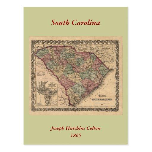 1865 South Carolina Map Postcard