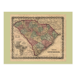 1865 South Carolina Map Postcard