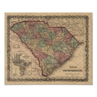 1865 South Carolina Map Poster