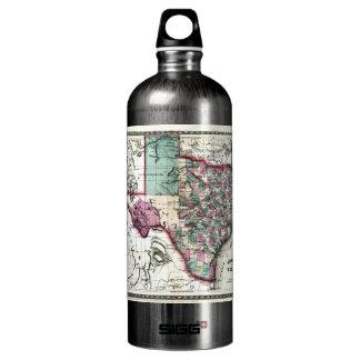 1866 Antiquarian Map of Texas by Schönberg & Co. Aluminum Water Bottle
